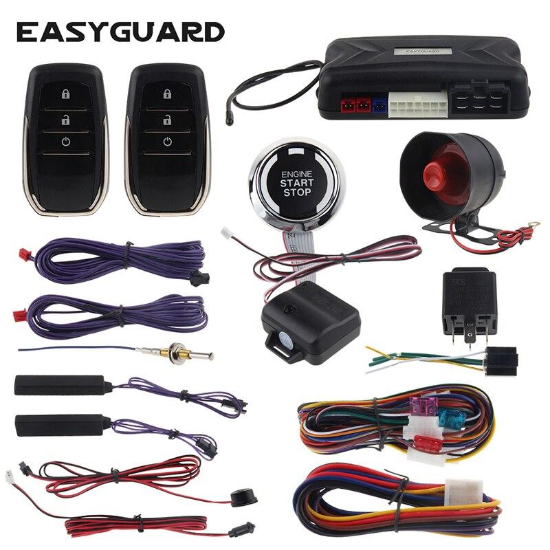 Système d'entrée sans clé passif EASYGUARD alarme de démarrage à distance universelle dc 12 v démarrage du moteur de voiture bouton poussoir interrupteur d'avertissement de choc