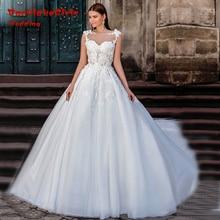 Vestido De Noiva De Renda Casamento Tulle Scoop Neck Wedding Dress 2017 Custom made Flowers Sheer Sexy Bridal Gowns Unique Lace