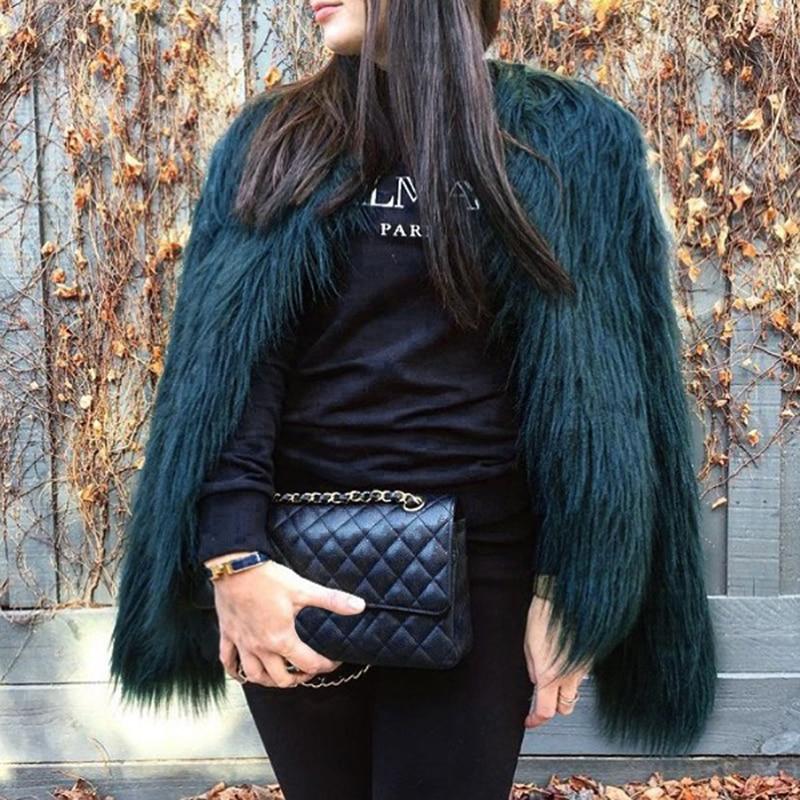 Furry Fur Coat Women Fluffy Warm Long Sleeve Outerwear Autumn Winter Coat Jacket Hairy Collarless Overcoat Plus Size 3XL 6Q0205