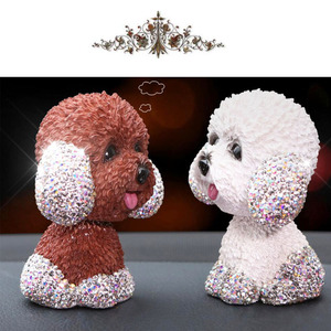 Image 2 - New Style Car Interior Ornaments Diamond Cute Dog Shaking Auto Interior Accessories Car Decoration Living Room Bedroom Girl Gift