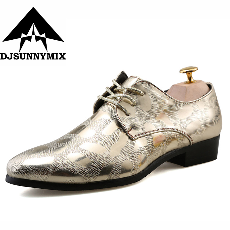 DJSUNNYMIX 2018 Men Dress Wedding Shoes Shadow Patent Leather Luxury Fashion Groom Party Shoes gold siliver
