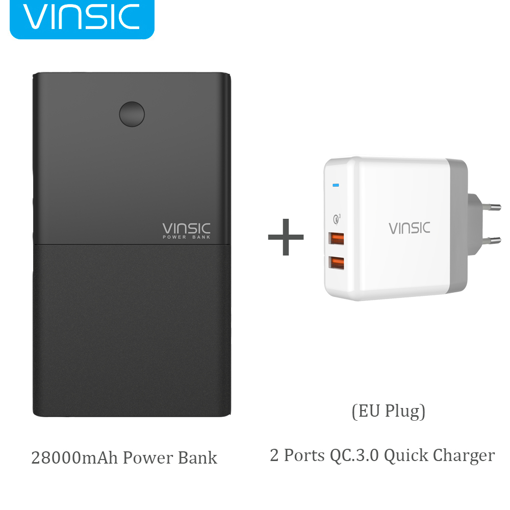 Vinsic 28000 mAh Quick Charge Power Bank 5 V/9 V/12 V Smart QC 3.0 2 USB poorten 18650 Lithium Externe Batterij USB Snellader