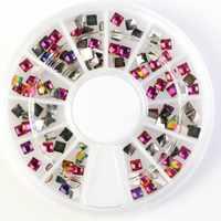 1 Wheel Square-shape Nail Rhinestones 3D DIY Fire Nail Art Decoration Gems Flatback AB Color Charm Stones