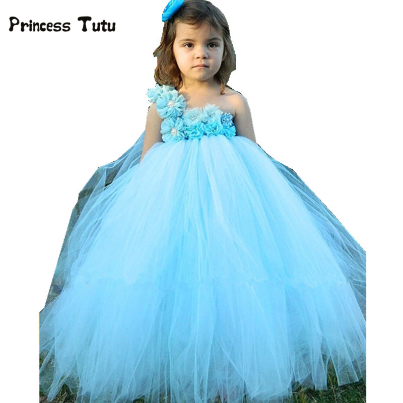 Light Blue Flower Girl Tutu Dress Pageant Vestido Tulle Princess Dress Kids Party Wedding Ball Gown Children Flower Girl Dresses цены онлайн