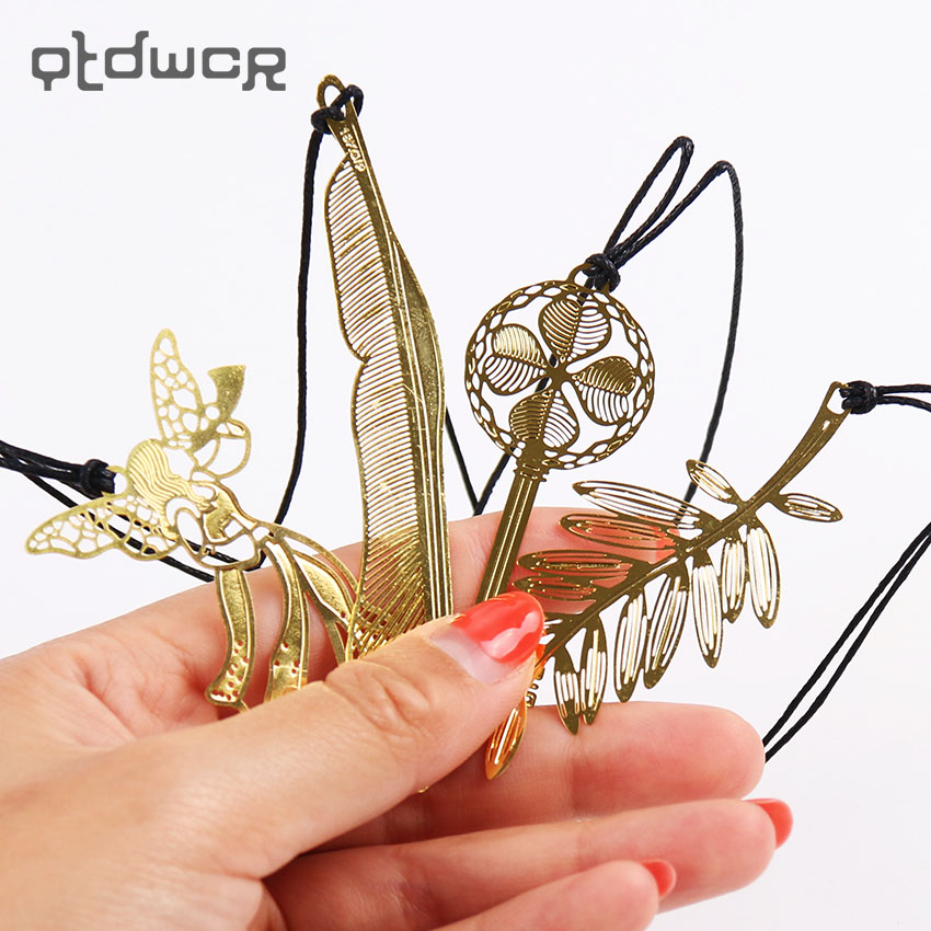 1PC Korean Stationery Cute Kawaii Gold Metal Bookmark Vintage Key Feather Angel Bookmarks Paper Clip For Book