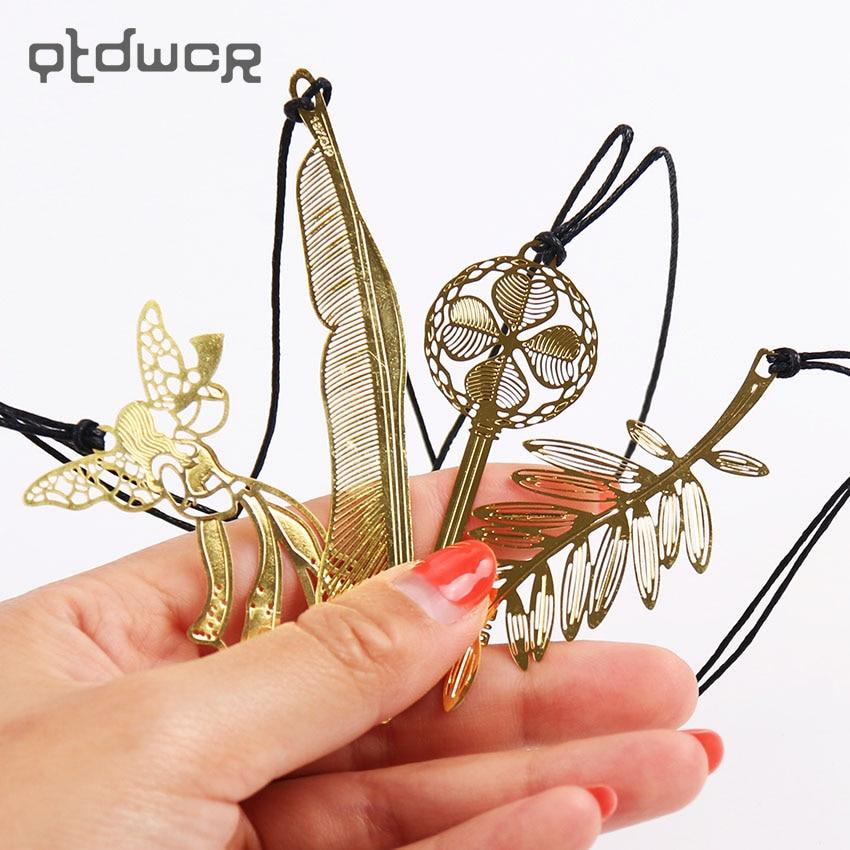 1 шт. Корейская Милая Канцелярия Kawaii металлические золотистые закладки винтаж ключ перо ангел закладки бумага клип для книги