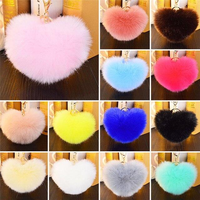 Moda New Hot Fluffy Pompons Faux Rabbit Fur Bola Chaveiro Coração Forma Encantadora Macio Bolsa Chave Do Carro Anel Multicolor