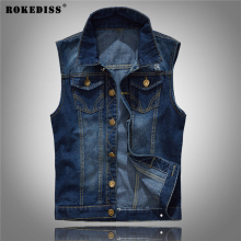ROKEDISS spring autumn Fashion 2017 Men Denim Vest Cowboy Rock Jeans Waistcoat Slim Cotton Motorcycle denim Vest Male W105