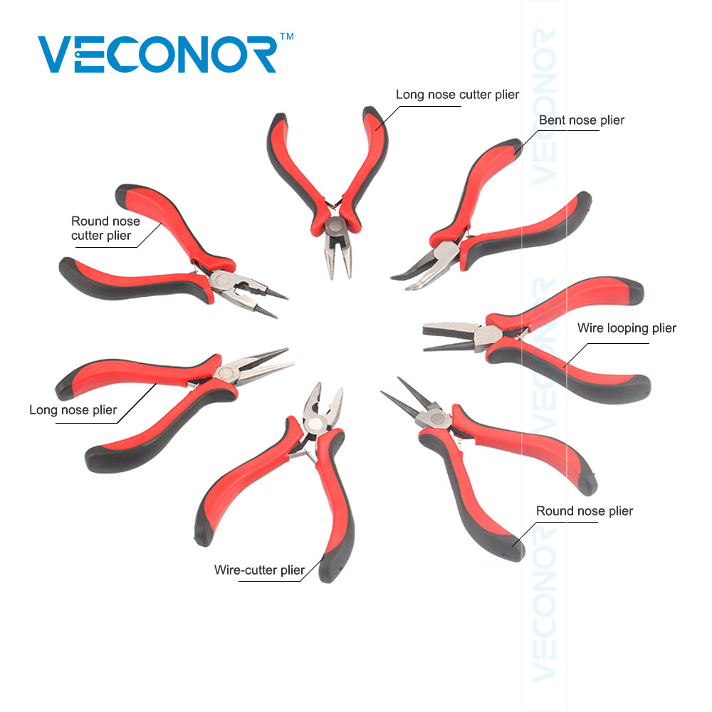 7PCS Professional Jewelers Pliers Set Jewelry Making Beading Wire Wrapping Hobby 5 Mini Pliers 7pcs mini beading pliers tools round flat long nose multi size pliers set