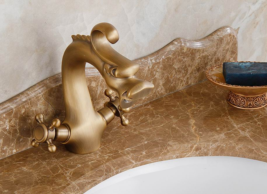 Free shipping Dragon style Antique bronze Brass Faucet Sink Faucet Bathroom tap toilet basin faucets Basin Mixer tap free shipping new antique brass chinese dragon style bathroom basin waste pop up waste vanity vessel sink drain with overflow