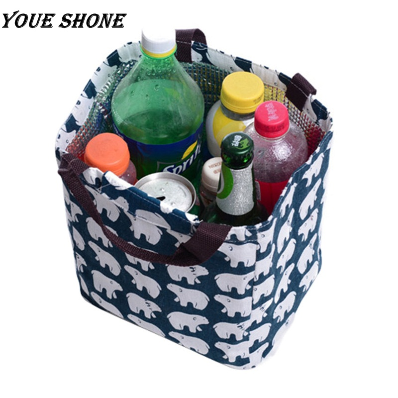 Youe shone Canvas Lunch Thermal Bag Portable Insulated Food Picnic Bags Cooler Lunch Box Bag Tote