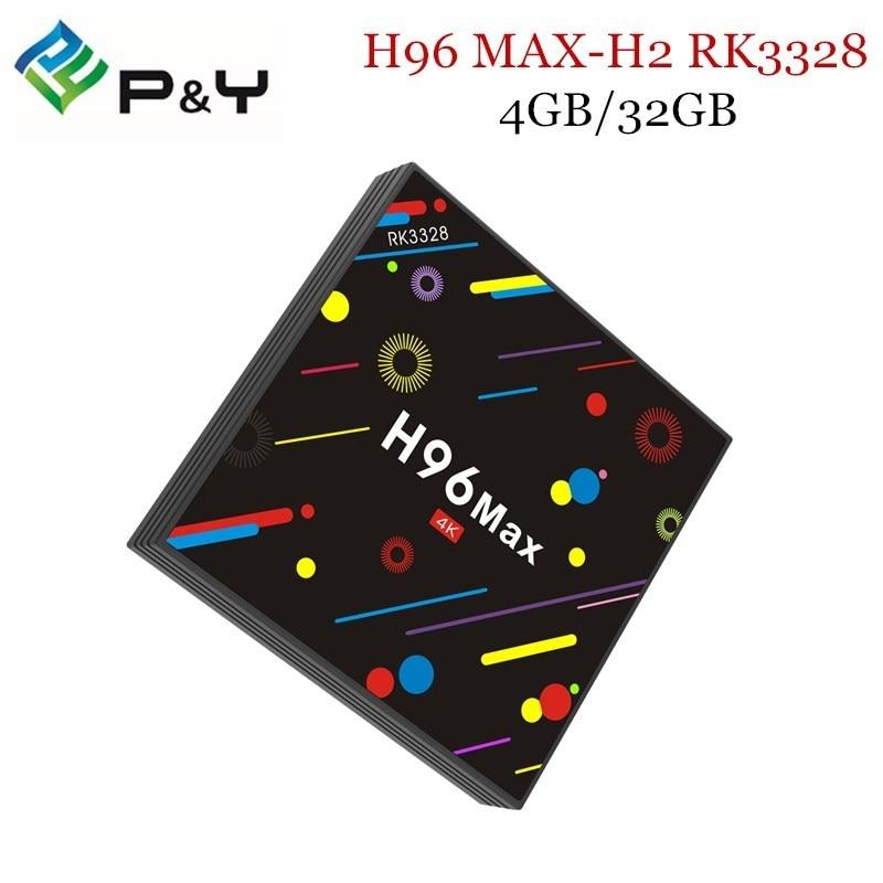 Android TV Box H96 MAX H2 RK3328 Android 7.1 Smart TV Box 4 GB 32 GB Kodi Suppot H.265 UHD BT 4 K 5G WiFi Set Top boîte