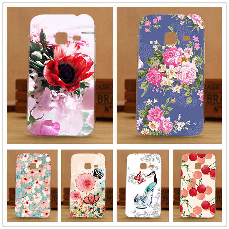 For Samsung S6802 Cases Diy UV Painting Colored Flowers Hard PC Case Cover For Samsung Galaxy Ace Duos S6802 GT-S6802 6802 Sheer