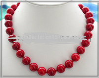 FREE SHIPPING>>>@@> N450 REAL 18 14MM NATUREL RED CORAL BEAD NECKLACE Bride jewelry free shipping