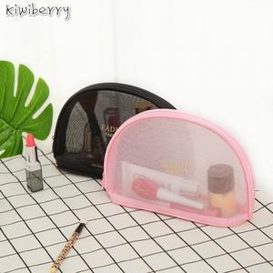Image 1 - Beknopte Toiletten Crystal Box Zwart Roze Grid Make Up Cosmetische Organizer Mini Size Trompettist Draagbare Reizen Accepteren Zak Pakket