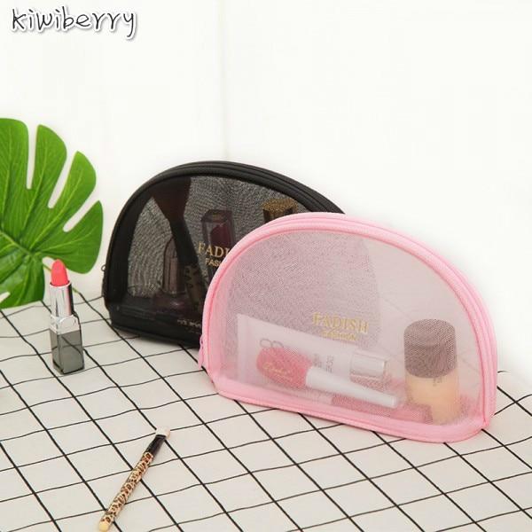 Beknopte Toiletten Crystal Box Zwart Roze Grid Make Up Cosmetische Organizer Mini Size Trompettist Draagbare Reizen Accepteren Zak Pakket