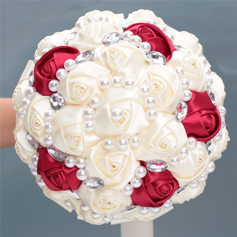 6 Styles 18cm Pearls Crystal Wedding Bridesmaid Bouquets Mariage Bridal Rose Holding Artificial Flowers Wedding Bouquet Ivory