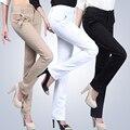 Otoño 2017 de las mujeres ocasionales elásticos pantalones rectos delgados femeninos más los pantalones del tamaño ropa blanca ropa