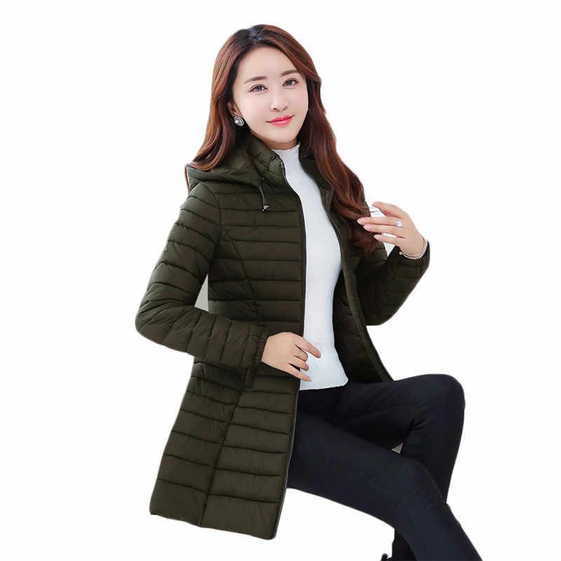 חורף מעיל נשים 2018 חדש שחור יין אדום וצבא ירוק 3 צבעים L-4XL בתוספת גודל ברדס מעיילים ארוך אופנה slim דק מעיל CX61
