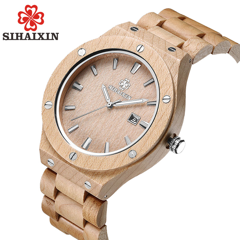 Reloj de madera informal creativo de marca SIHAIXIN para hombre de lujo de diseño de negocios relojes de cuarzo de Japón reloj masculino regalo de Navidad 2018
