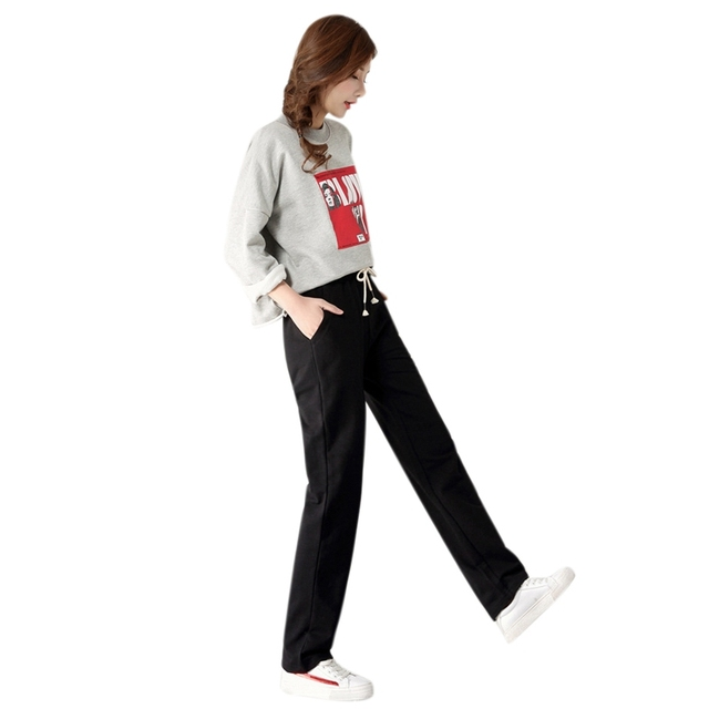 Autumn Ladies Plus Size Casual Straight Pants Women Sport Loose Long Trousers Women Mid Waist Women Lace Up Fashion Pants