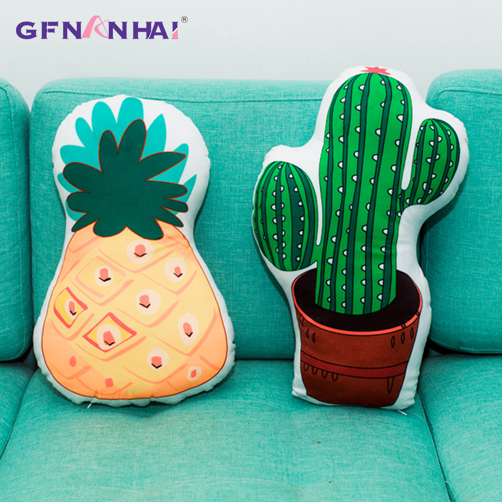 Novelty & Special Use Creative Soft Stuffed Plush Plants Strawberry Pineapple Cactus Pillow Blanket Cartoon Fruits Sofa Decoration Back Cushion Doll
