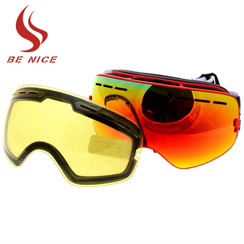 2018 New Brand Double Anti-fog Big Spherical Skiing Goggles Professional Ski Eyewear Uni ...