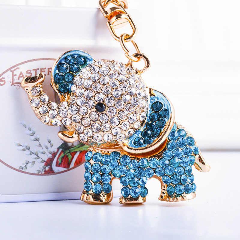 RE Bonito 3D Elefante de Cristal Encantos Chaveiros No Saco do Saco Das Mulheres da cadeia Chave Do Carro Chave Bugiganga Elefantes anéis acessórios j3035