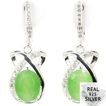 5.5g Real 925 Solid Sterling Silver Elegant Green Emerald Rubies Cubic Zirconia Earrings 30x12mm