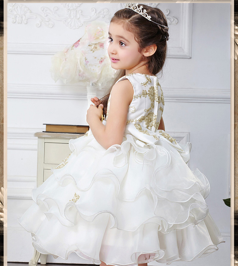 New arrival ivory Neck Cascading Ruffles Ball Gown   Flower     Girl     Dresses   First Communion   dresses   for   girls   with gold embroidery
