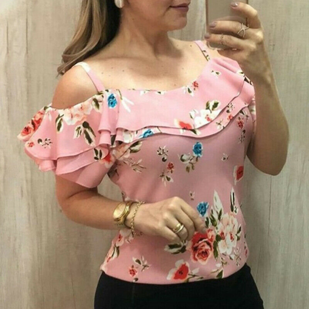 Women Floral Print T shirts Off Shoulder Ruffles Summer Beach Tops Vest Ladies Sexy Slash Neck Shirts Pink Plus Size 5XL in T Shirts from Women 39 s Clothing
