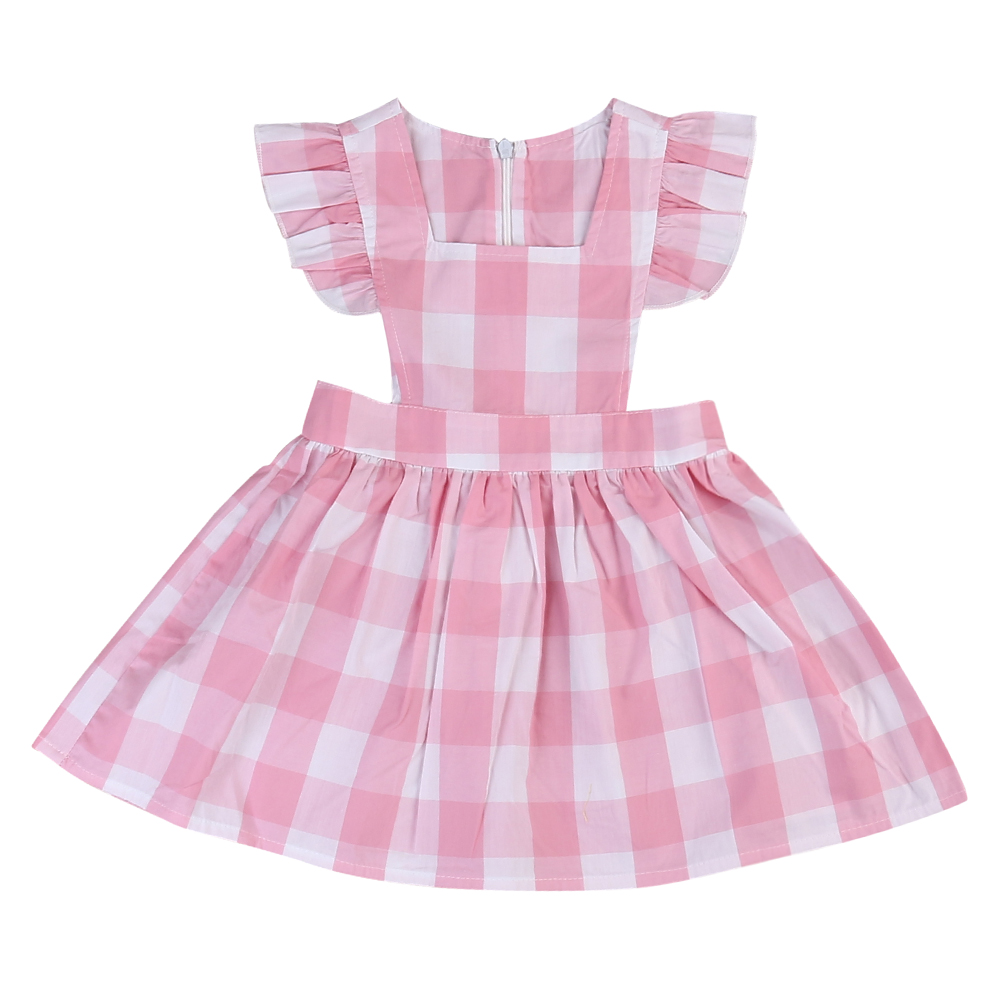 Baby Kids Girls Summer Plaids Sleeveless Princess Party Pageant Pink Yellow Colors Plaid Print Dresses