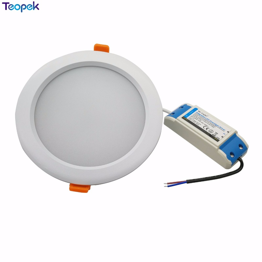 2.4G RGB+CCT 15W Dimmable LED Downlight FUT069 IP54 Waterproof Mi Light DownLights AC86-265V Round Reccessed Light For Bathroom