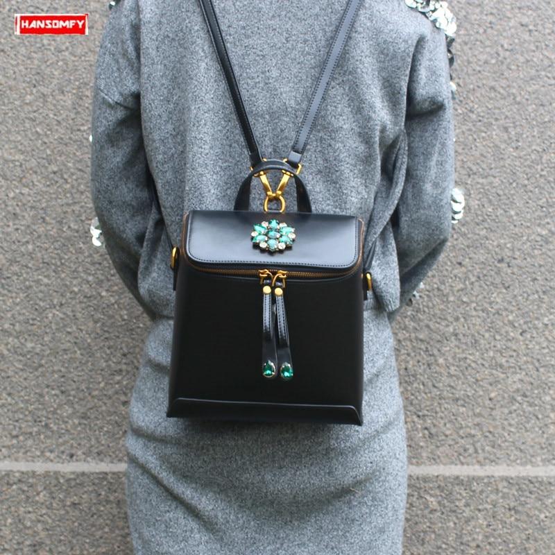 2019 New luxury fashion diamond Women Backpacks female Genuine leather retro shoulder bag blue rhinestone backpack