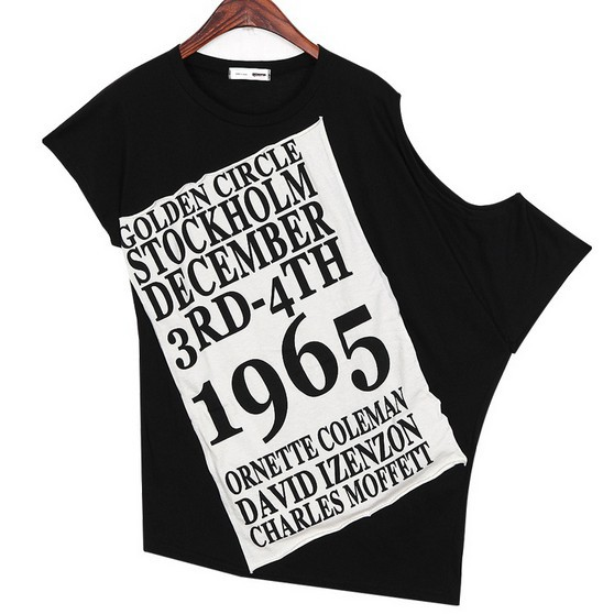257d603a1 Hot Selling 2014 American Apparel Women Summer Loose Street Style Off  Shoulder Letter Print Black T shirt Tshirts Tops T Shirt-in T-Shirts from  Women's ...