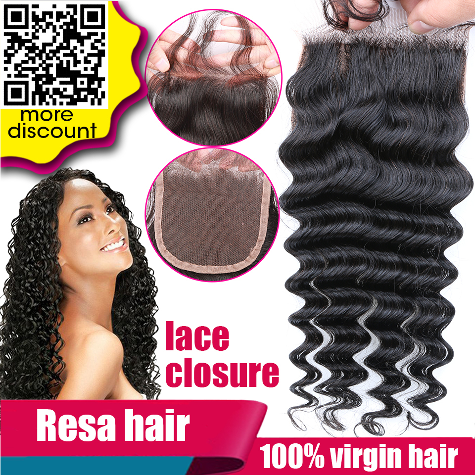 Brazilian Curly Hair Deep Wave Closures Lace Closure Sew In Weave