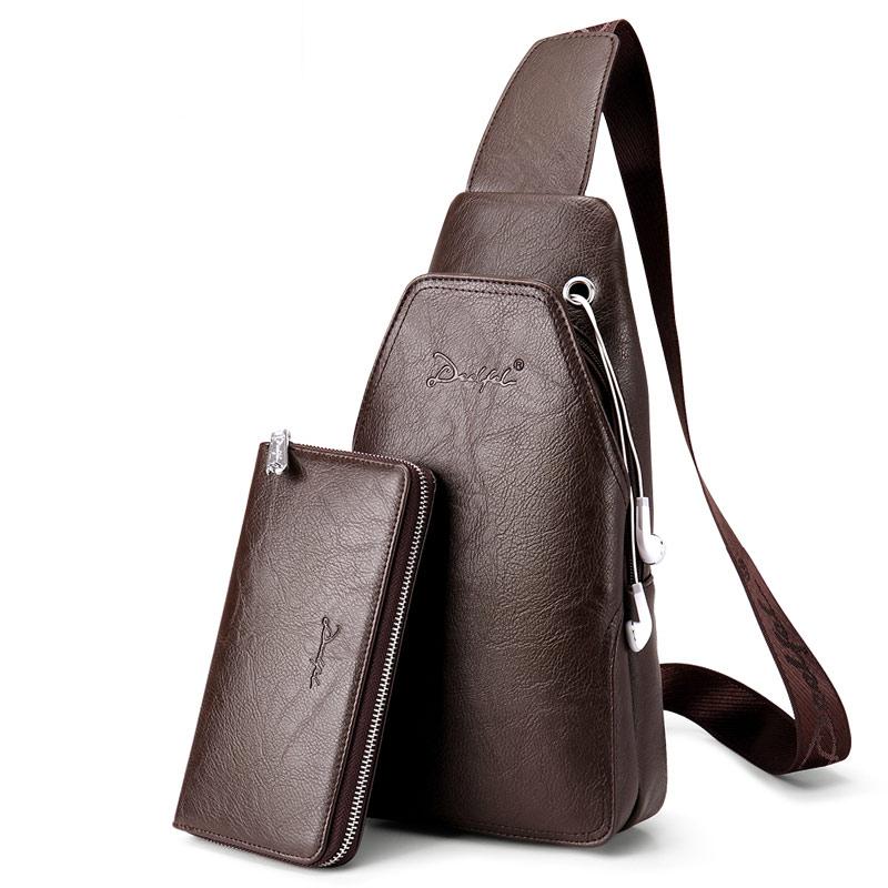 Bag Chest-Bag Single-Shoulder-Strap-Pack Men Messenger Waterproof New-Fashion PU
