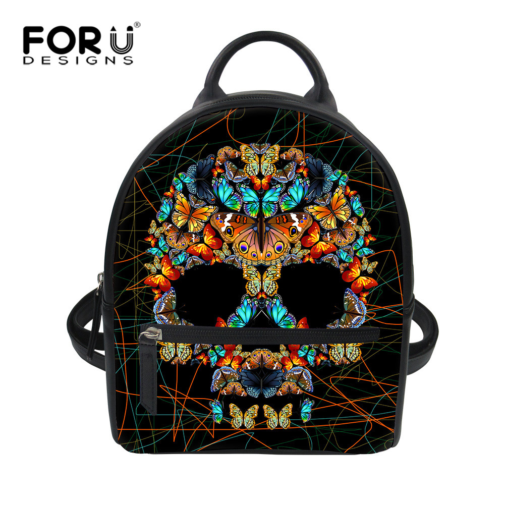 FORUDESIGNS Black Skull Butterfly PU School Bag for Girls Small Zombine Shoulder Book Bags Daily Women Travel Punk Back Packs