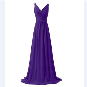 Image 5 - LLY1130Z # col en v bretelles Spaghetti à lacets longues violet bleu robes de demoiselle dhonneur de mariage robe de bal mariée dames mode filles