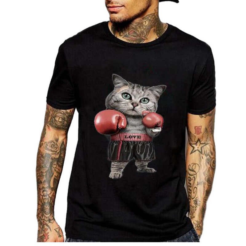 New Boxinger Cat Printed T Shirt Men Short Sleeve T-shirt Men Couples T Shirt Plus Size O-neck Cotton Fitness Men Tops Tank  H8