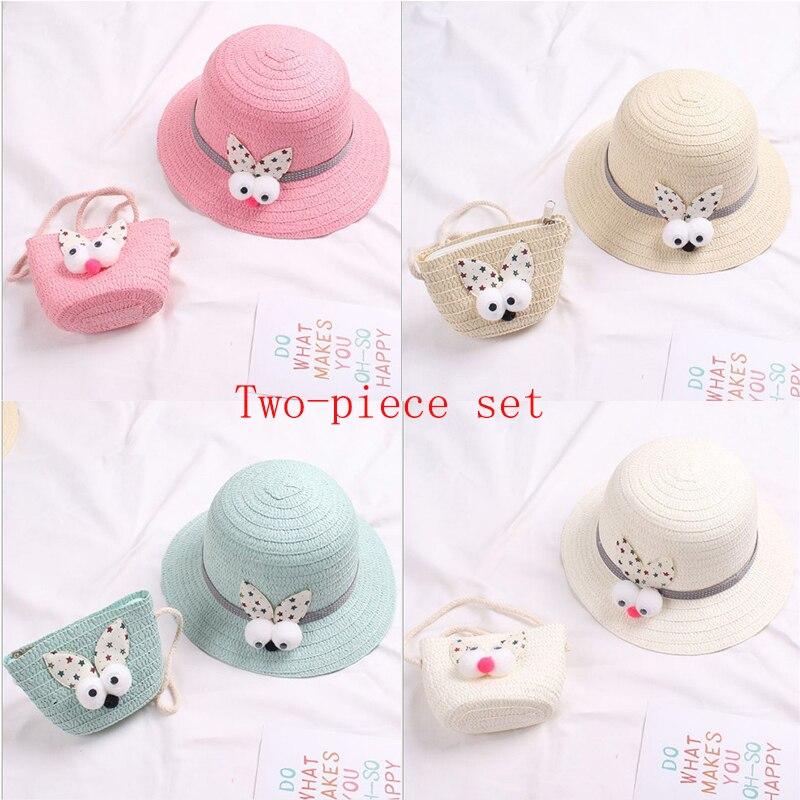 JUILE LI / 2020 Summer Hot New Cute Rabbit Head Children Straw Hat Girls Princess Hat Travel Student Visor Beach Hat Two-piece