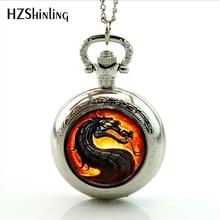 Новое поступление 2017 года Огненный Дракон карманные часы ручной работы Mortal Kombat Ожерелья для мужчин медальон карманные часы ювелирные изделия