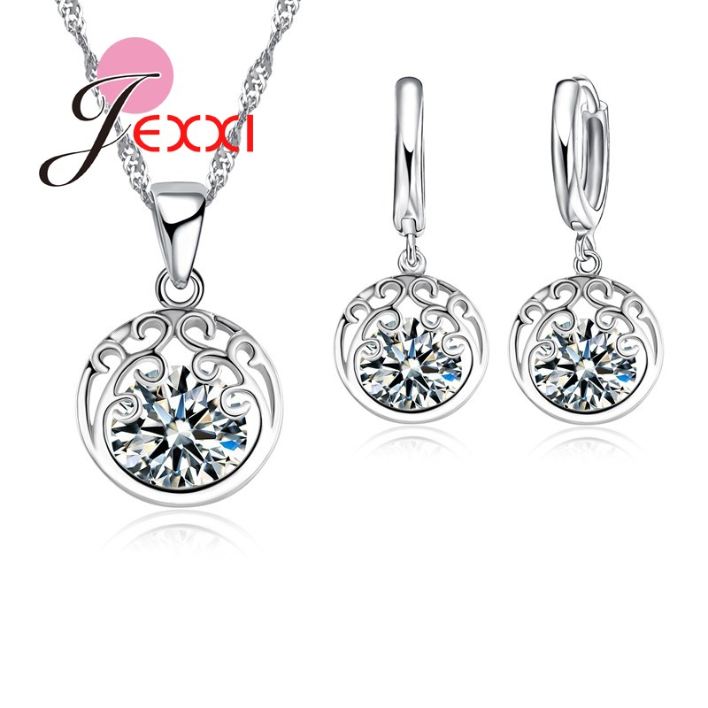Promotion Fashion Vintage Hollow Out  Silver Wedding Bridal Jewelry Set For Women Round Crystal Sets