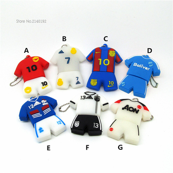 Cute USB Flash Drive Football clothes/suit/Jersey 4GB/8GB/16GB/32GB Pen Cards PenDrive Soccer Superstars