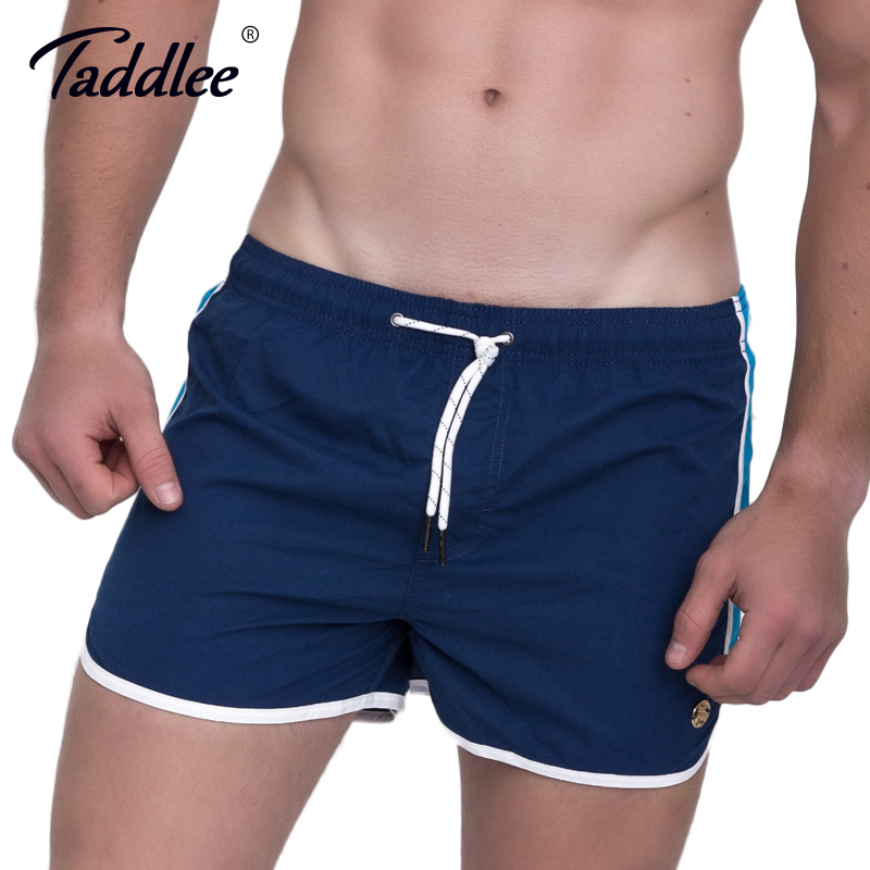 Taddlee Brand Men Board Surfing Shorts Swimming Boxer Trunks Sports Running Basketball Shorts Quick Drying Basketball Trunks New side drawstring contrast trim swimming trunks