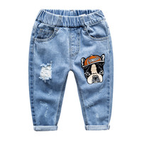 Spring Boys Girls Sofe Hole Jeans Baby Kids Lucky Dog Hole Jeans Children Casual Denim Pants