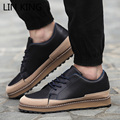 LIN KING Men Casual Shoes Solid PU Leather Lace Up Thick Sole Shoes Low Top Platform Flats Outdoor Leisure Man Zapatos Hombre