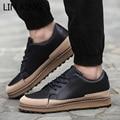 LIN REY Men Casual Shoes Solid Cuero de LA PU Atan Para Arriba Gruesa suela de Los Zapatos Bajo-Top de Plataforma Pisos Ocio Al Aire Libre Hombre Zapatos Hombre