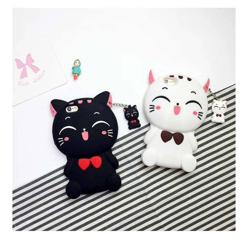 For iphone 7 lucky cat mobile phone shell cute pendant cat soft shell cartoon bow black cat silicone cover for iphone 6 7 x