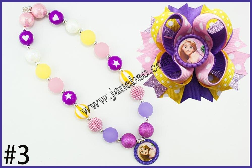Image 3 - free shipping 10set Cartoon princess chunky bubblegum kids  necklace  and character hair bows 4.5 girl hair clipsgirls hair  clipshair clipgirls hair
